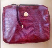 "Estee Lauder Red Faux Reptile Skin Travel / Cosmetic Bag Tote 13"" in. x 14"" in."