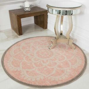 Pink Damask Coffee Table Mat Round Hall Rug Blush Circle Bedroom Living Room Mat