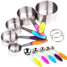 10stk Messlöffel Set Edelstahl Messbecher Cups mit Silikon Griff für Kochen