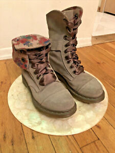 Dr. Martens Aimee Aimilie Taupe Suede Floral fold down Combat Boots Sz 8 USA