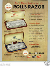 1954 PAPER AD 2 Sided Rolls Safety Razor Streamline Travel Model COLOR
