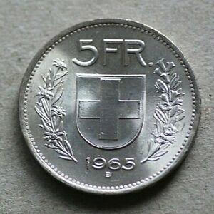 """Mint Error Coin 1965 Switzerland 5 Franken, Re-punched-Date + Die Chip """"6"""""""
