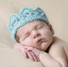 Newborn Baby Girl Boy Handmade Knit Crown Crochet Costume Photography Prop Blue