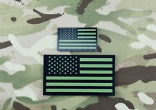 Infrared US Flag Standard & Mini Patch Set IR Army Navy Air Force USN USAF Green