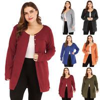 Women Casual Plus Baggy Long Sleeve Cardigan Coat Jacket Loose Outwear Tops NEW