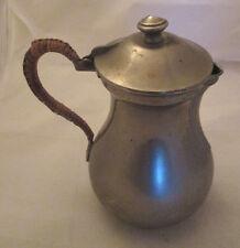 Théière cafetière ancienne étain poignée osier / Antique Tea Pot Pewter Wicker