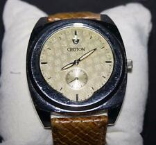 Croton Men's Stainless Steel Beige Dial Watch with Genuine Leather Strap