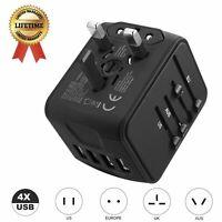 Universal Travel Power Adapter International Fast Charger 4 USB Ports Black
