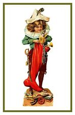 Victorian Christmas Scene # 711 Boy Stocking Gifts Counted Cross Stitch Pattern