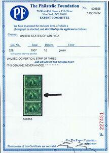 GENUINE SCOTT #328 MINT OG NH 1907 GREEN PSE CERT 1¢ JAMESTOWN EXPOSITION #8378