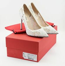 Valentino Ivory Off-white Crystal Lace Wedding Pumps 36 6