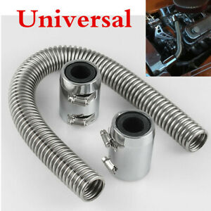 "24"" Stainless Steel Chrome Radiator Flex Coolant Water Hose Kit w/Radiator Cover"