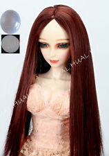 "8-9-10"" 1/3 BJD Red Brown Straight Long Wig LUTS Doll SD DZ DOD Pullip Hair +Cap"