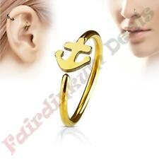 316L Surgical Steel Gold Ion Plated Nose & Ear Cartilage Ring with Anchor