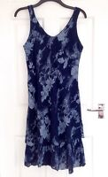 MADE IN ITALY  Lagenlook Cotton Blue Floral Print Sleeveless Dress, M UK 14/16