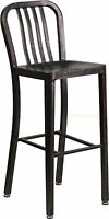 Black Antiqued Gold 'Navy' Style Bar Stool High Top Cafe Patio Chair In-Outdoor