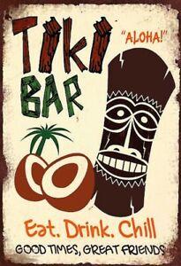 Blechschild 20x30cm gewölbt The Tiki Bar Hawaii Cocktails Aloha Deko Schild