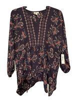 Style & Co. Women's Plus Size 3X Split Neck Paisley Print Blouse Purple NWT $69