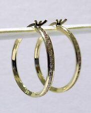 Channel Set Round CZ All Way Around Hoop Dangle 1.8gram Earrings 14k Yellow Gold