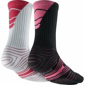 Nike Performance Cushioned Black/White Pink Youth 3-5 Crew Football Sock 2 pack