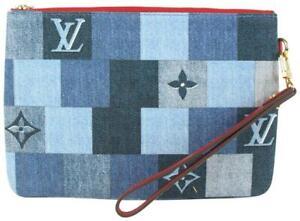 Louis Vuitton Blue Denim City Pouch Wristlet Bag 1012lv46