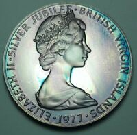 1977 BRITISH VIRGIN ISLANDS SILVER PROOF 50 CENTS BU UNC COLOR TONED COIN