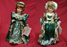 """Two Royal Courts Porcelain Dolls In Orig. Boxes W/ Stands & Tags * 17"""""""