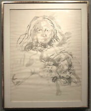 Philip Evergood 1960 painting NYC social realist artist woman and dog portrait