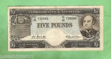 1960 COOMBS/WILSON  R50 TYPE FIVE  POUND  BANKNOTE SERIAL No. TC20 730585