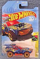 2018 Hot Wheels TREASURE HUNT Dino Riders 3/5 STING ROD ll Blue w/Brown Wheels