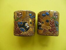 ANTIQUE VINTAGE SATSUMA SCROLL WEIGHTS ?