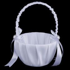White Satin Beaded Wedding Flower Girl Basket Bowknot Decor LU