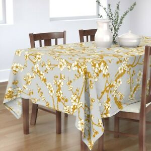 Tablecloth Light Gray White Yellow Flowers Floral Nature Grey Cotton Sateen