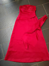 LYDIA RED STRAPLESS BEADED TOP PLEATED FULL LENGTH PROM EVENING DRESS SIZE 10/12