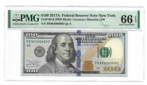 2017A $100 NEW YORK FRN, PMG GEM UNCIRCULATED 66 EPQ BANKNOTE