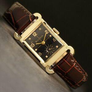 Stunning 1956 Bulova 10K Gold Filled Man's Watch, All Original Black Dial, NR!