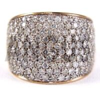3.99ct Diamond Round Pave Anniversary Band Engagement Ring Solid 14K Yellow gold