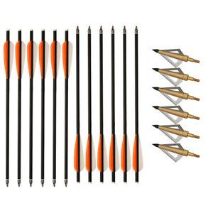 "12pcs 16"" Carbon Arrows Bolts OR 125grain Broadheads Archery Hunting"