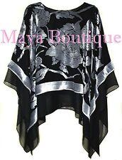 Maya Matazaro Layered Poncho Top Silk Burnout Velvet & Chiffon Silver Black USA