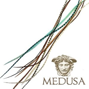 Turquoise Tribe-Natural Real Feather Hair Extensions Whiting Grizzly 10 Pack