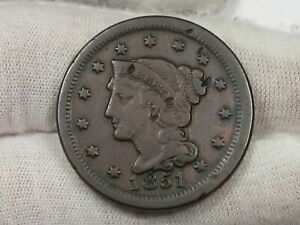 1851 Braided Hair Large Cent - New Comb Variety? (Between 5 & 1).  #33