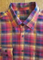 ROBERT TALBOTT SHIRT, Men's LARGE (or XL) 17 x 34, Red Gold Blue Orange, EUC