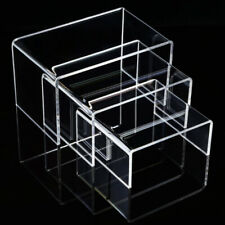 3PCS Clear Acrylic Display Risers Jewelry Display Riser Shelf Showcase Fixture