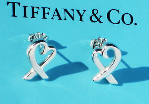 Tiffany & Co Sterling Silver Solid LARGE Paloma Picasso Loving Heart Earrings