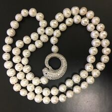 Baroque 33 inches long 10-11 mm White Pearl Necklace with Leopard Head Ornament