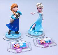 Disney Infinity 1.0 Frozen ANNA & ELSA Figures + Skydome & Terrain Power Discs