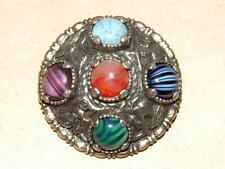 Vtg MIRACLE Viking Celtic Scottish Anglo Saxon Shield & 5 Color Agate Pin Brooch
