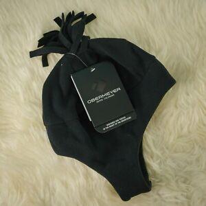 Obermeyer Size 1-4 Hat Beanie Black Orbit Fleece Adjustable Neck Pompom Tassel