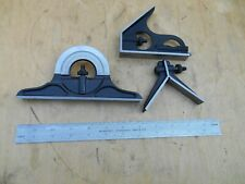 """Brown & Sharpe Hardened 4PC 12"""" Combination Square Protractor Set Almost mint"""