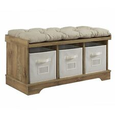 """42"""" Wood Storage Bench with Totes and Cushion - Barnwood"""